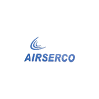 Airserco Company logo in blue color with grey background