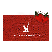 Mayur uniporters Ltd Logo in red cherry textured