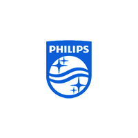 Blue colour Philips company Logo with grey background