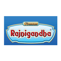 Rajnigandha Logo in blue color with grey background