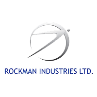Rockman Industries LTD Company logo in sliver color with grey background