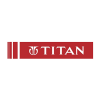 Titan written in white color with red background