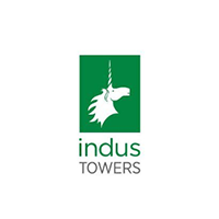 Indus Towers logo in green and grey color with white background